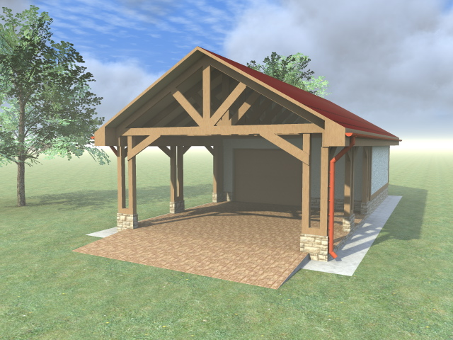 Проект гаража с навесом - навес из бруса