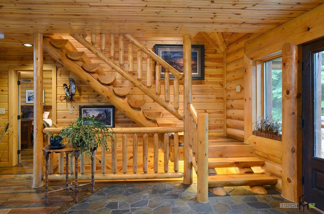 Отделка деревянного дома внутри фото второй этаж подразумевает создание