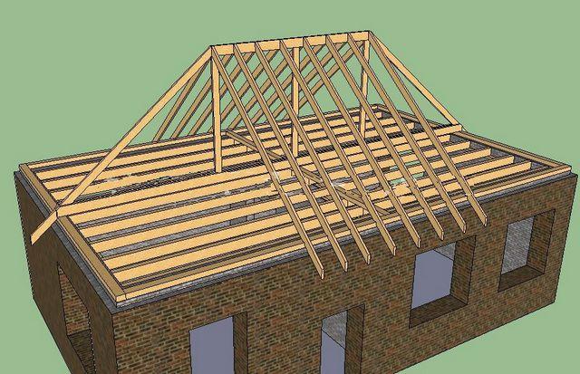 как сделать стропила на четырехскатную крышу